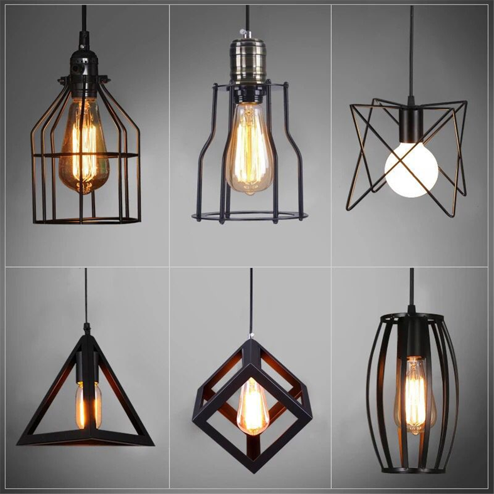 Lustre Cage Us 5 98 20 Off Black Lustre Cage Pendant Lights Iron Minimalist Retro Nordic Loft Pyramid Lamp Metal Hanging E27 Edison Bulb Indoor In Pendant