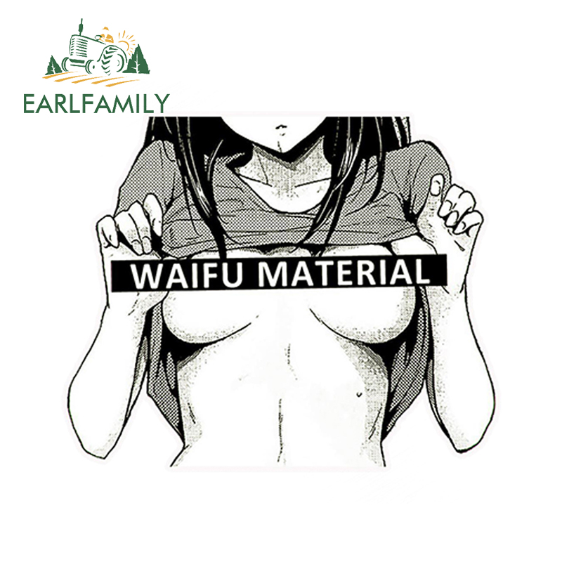 EARLFAMILY 13cm x 12cm Car Styling Waifu Material Vinyl Decal Car Truck Anime Hentai <font><b>Sexy</b></font> Pinup Mang <font><b>Girl</b></font> Waterproof Car Sticker image