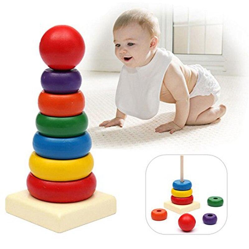 Ijverig Houten Stapelen Toren Kids Baby Blokken Speelgoed Mini Kralen Ringen Bijpassende Blokken Stapelen Regenboog Toren Vroege Educatief Kids Speelgoed Gediversifieerde Nieuwste Ontwerpen