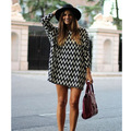 Europe And The United State Foreign Trade Chiffon Dress Black And White Stripe Printed Loose Wavy Sexy Dress Long Sleeve Dress