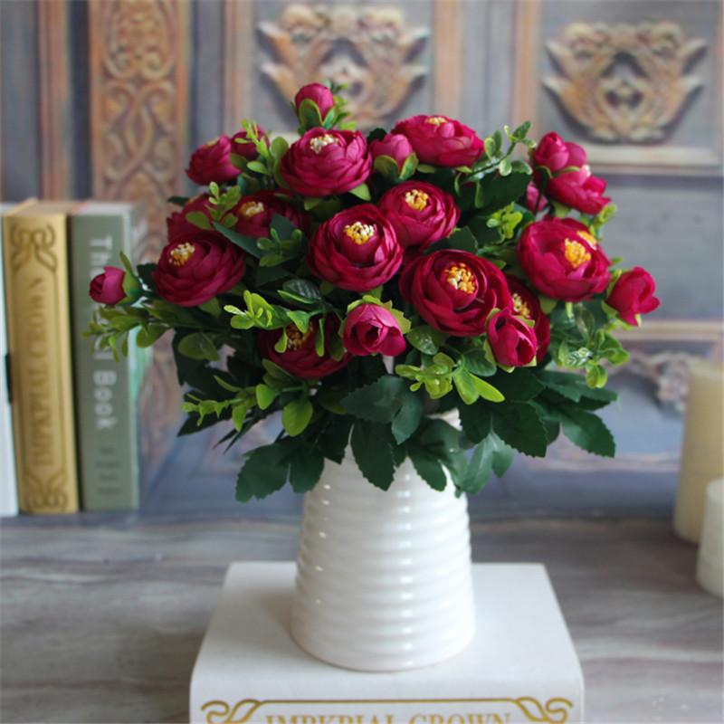 Artificial Silk Peony Fake Flower Vivid 6 Branches Autumn Artificial Flowers
