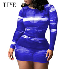 TIYE High Quality Fashion Gradient Purple Blue Autumn Slim Dress Long Sleeve O-neck See Through Mesh Print Femme De Verano