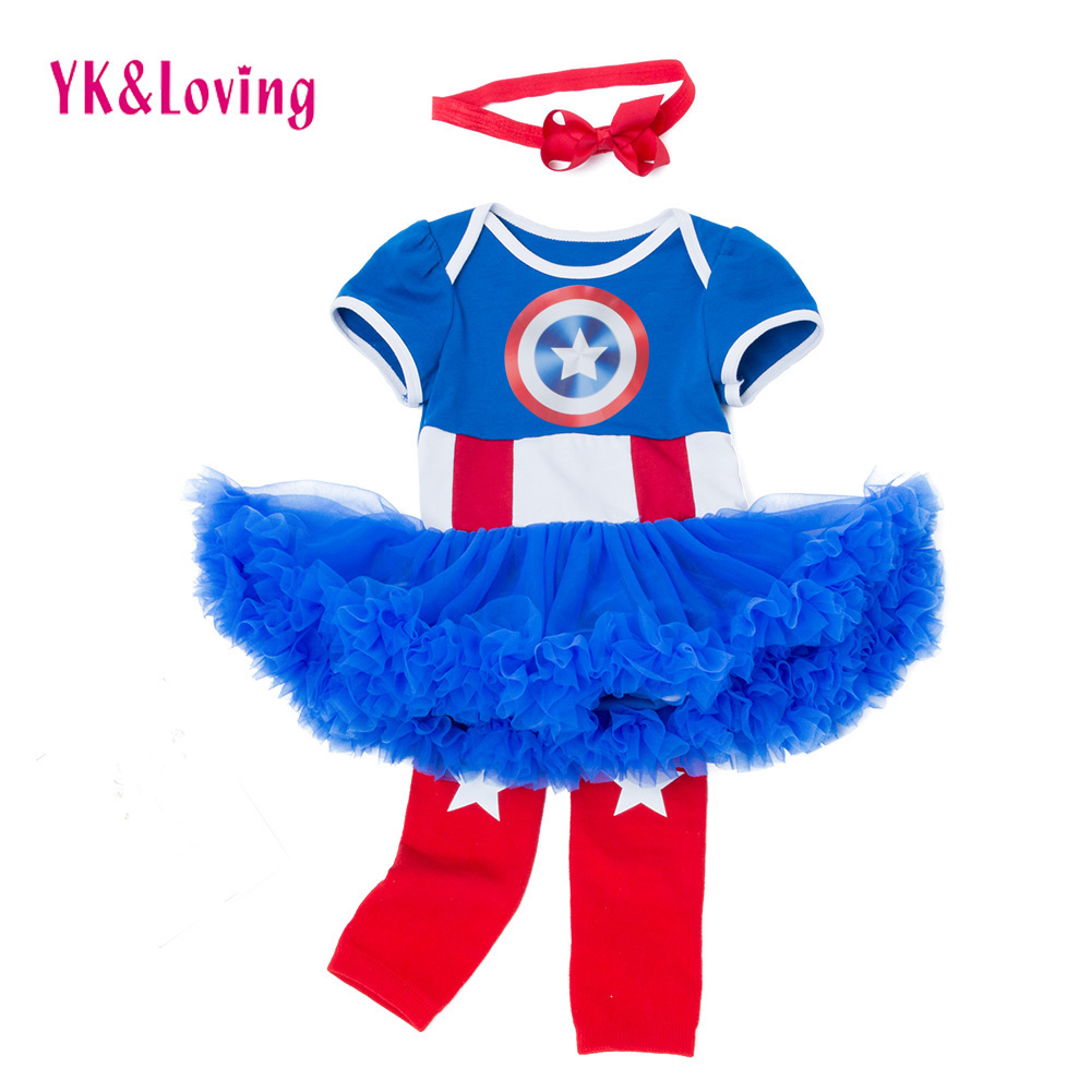 6a7f1726092f Baby Girl Clothes Captain America Outfits Infant Clothing Sets Tutu Romper  Skirt Kids Baptism independence Day Summer Style