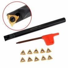 10pcs 11IR A60 Carbide Inserts Golden Blades + 1pc SNR0010K11 Lathe Boring Bar Turning Tool Holder цена и фото