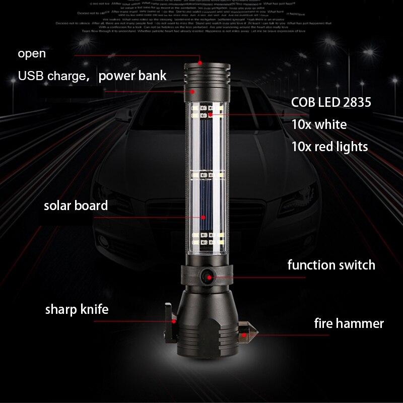 Multi-function powerful solar escape rescue flashlight car emergency safety hammer torch USB power bank COB led linterna