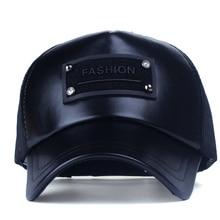 Xthree 5 panels fashion men  faux leather baseball cap women summer mesh cap snapback hat for girl bone gorras