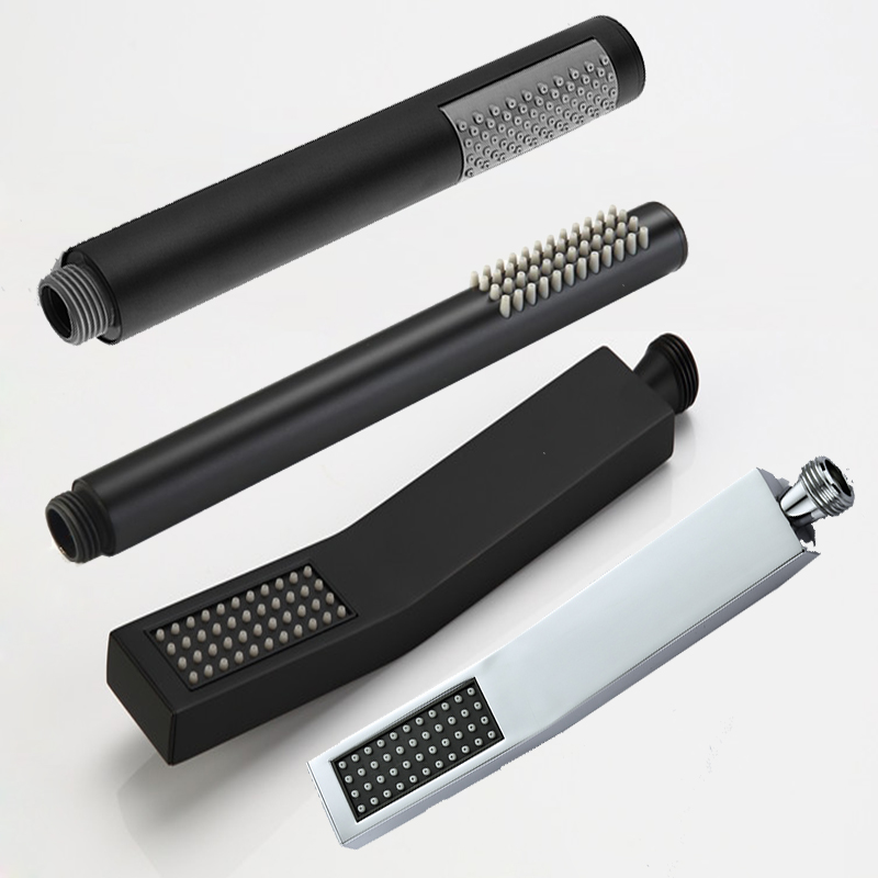 Round Black Handheld Showerheads Hand Shower Bathroom HandHeld Shower Head Partial Bent Square Hand Chrome/Black Shower Brass
