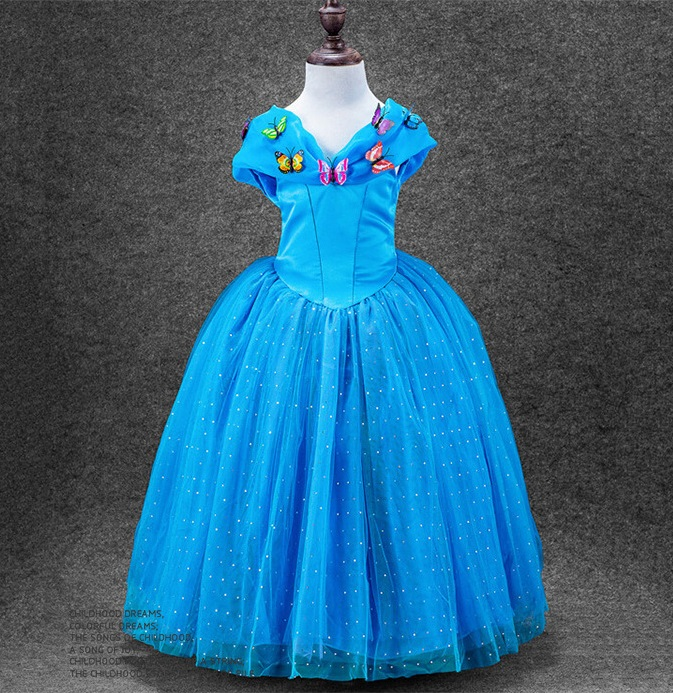 D072 New Fashion Children Clothes Cosplay Cinderella dress gauze bow girl dresses