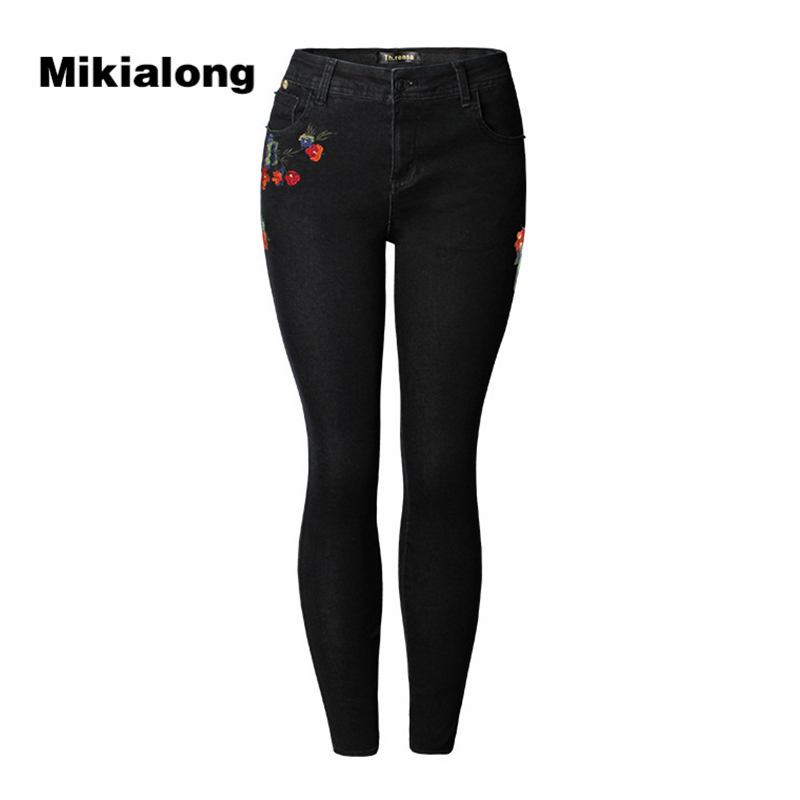2017 Autumn High Waist Vintage Embroidery Jeans Woman Black Pencil Stretch Skinny Jeans Femme Large Size Slim Denim Pants Women women jeans large size high waist autumn 2017 blue elastic long skinny slim jeans trousers large size denim pants stretch female