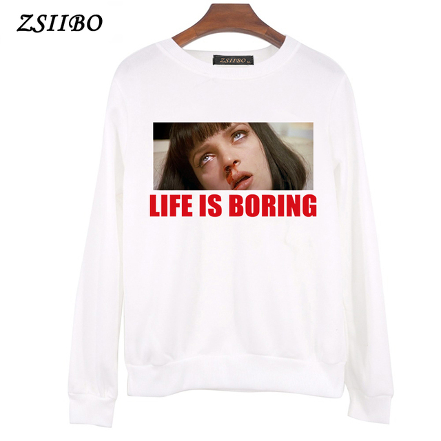 2018 Autumn Harajuku Women Hoodie Life is Boring Letters Casual Design Long  Sleeve Hooded Pullover Sweatshirts Hooded Female da84f0e8d6a7
