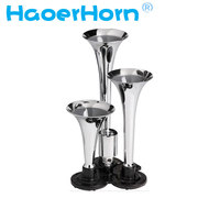 New 12/24v 135db Super Loud Chrome no rust Triple Trumpet Air Horn Boat Bus Truck Lorry Train motorcycle car horn free shipping