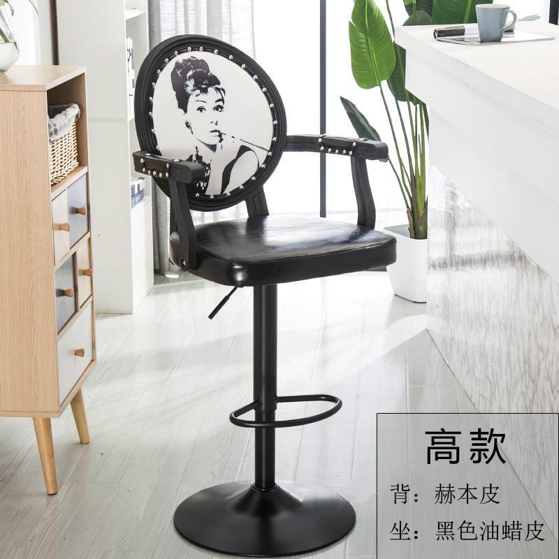 Bar Chair Lift Chair Home Swivel Chair Nail Beauty Stool Back Makeup Chair Modern Minimalist High Stool High Quality Materials Furniture