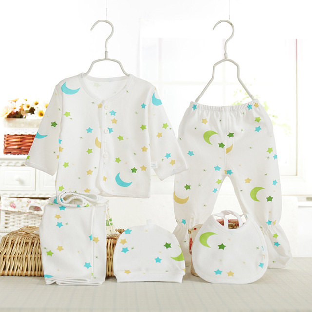 Recién nacido (5 unids/set) Bebé 0-3 M de alta calidad baby Boy niña ropa 100% Algodón fijaron Ropa Interior del bebé conjunto de dibujos animados