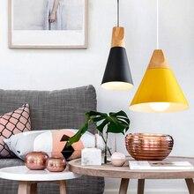 Nordic Loft Holz Aluminium Lampenschirm Industrielle Anhänger Lichter Beleuchtung Lamparas Bunte Anhänger Lampe E27 Basis Leuchten