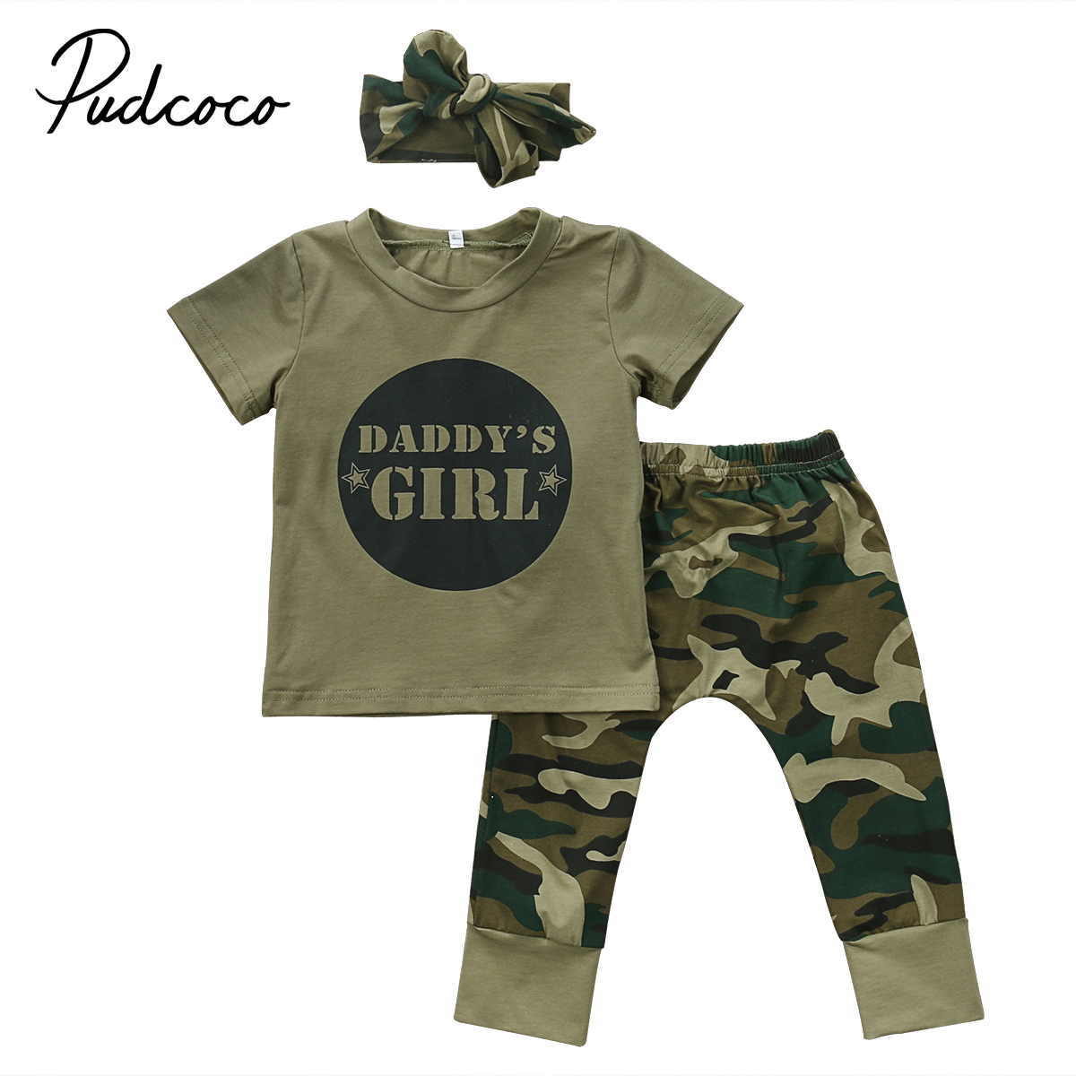Summer Newborn Baby Boy Girls Camouflage T-shirt Tops+Pants Outfits Set Clothes Army Green Children Letters Print Clothing 0-24M girls in pants third summer