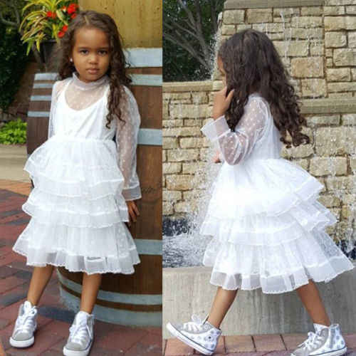fc4f8ac6851b2 Cute Kids Baby Girl Princess White Dresses Long Sleeve Party Dot Lace Tulle  Dress Ball Gown Dress Outfit Clothes Summer