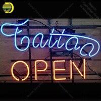 Star neon Factory Tattoo Open Metal Frame Neon Sign Handicraft Store Real Glass Tube Bar room Accesaries neon light Decor Room