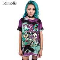 Leimolis Summer Funny 3D Print Gothic Skull Aliens Vampire Harajuku Kawaii Punk Rock O Neck