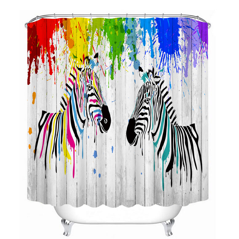MYRU 3D Print Waterproof Zebra Shower Curtains Bath