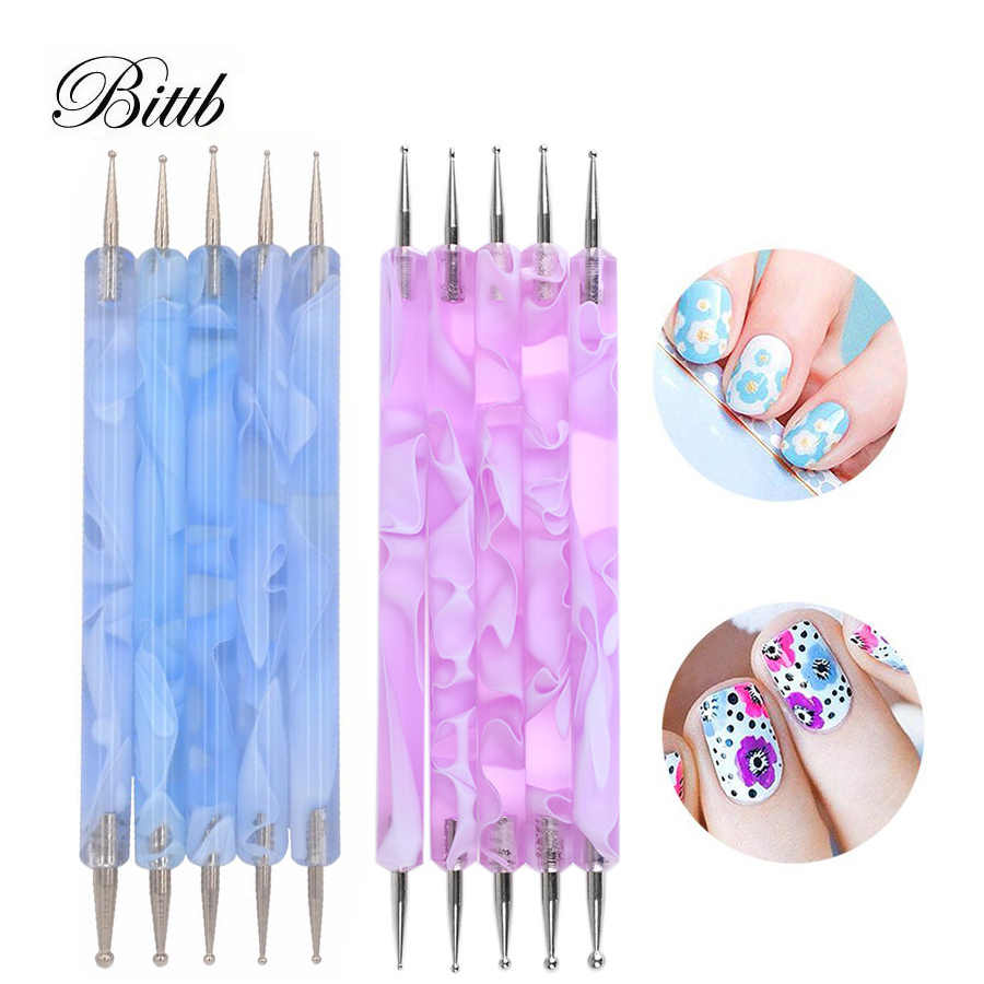Bittb 5pcs Nail Art Dotting Tools 3D UV Gel Polish Rhinestone Dots Pen  Painting Needles Nails 2d13207aa3f8