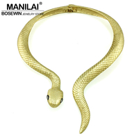 MANILAI Bohemia Big Metal Snake Chokers Necklaces For Women New Vintage Collar Torques Maxi Necklace Statement
