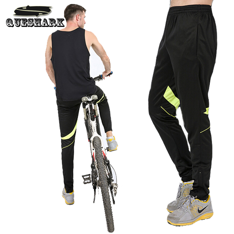 Queshark High Elastic Men Cycling Pants Camping Hiking Pants Riding Bike Bicycle Pants Breathable Outdoor Sport Fitness Trousers