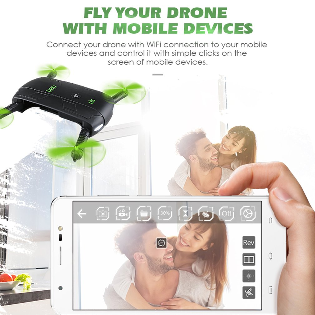 DHD D5 Wifi FPV Foldable Selfie Drone Altitude Hold Mode 3D Flips&Rolls Pocket RC Quadcopter Mini Dron With Camera