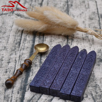 5 Pcs Vintage Golden Sealing Wax Stick With 1 Stamp Spoon Melting Wax For DIY Manuscript