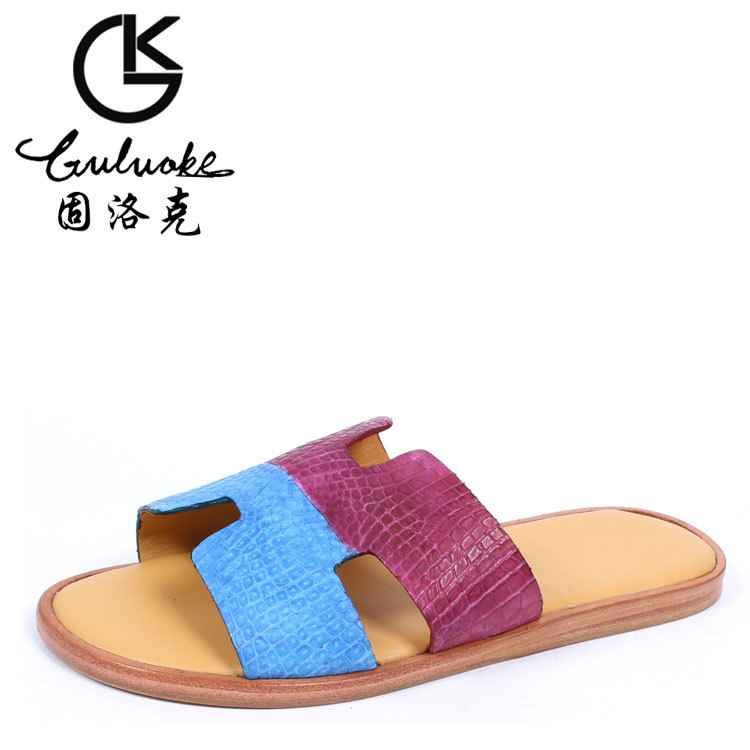 436de71963960b G 71 Free shipping Goodyear counter genuine Crocodile leather handmade  slippers Men s high end luxury slippers sandals-in Women s Sandals from  Shoes on ...