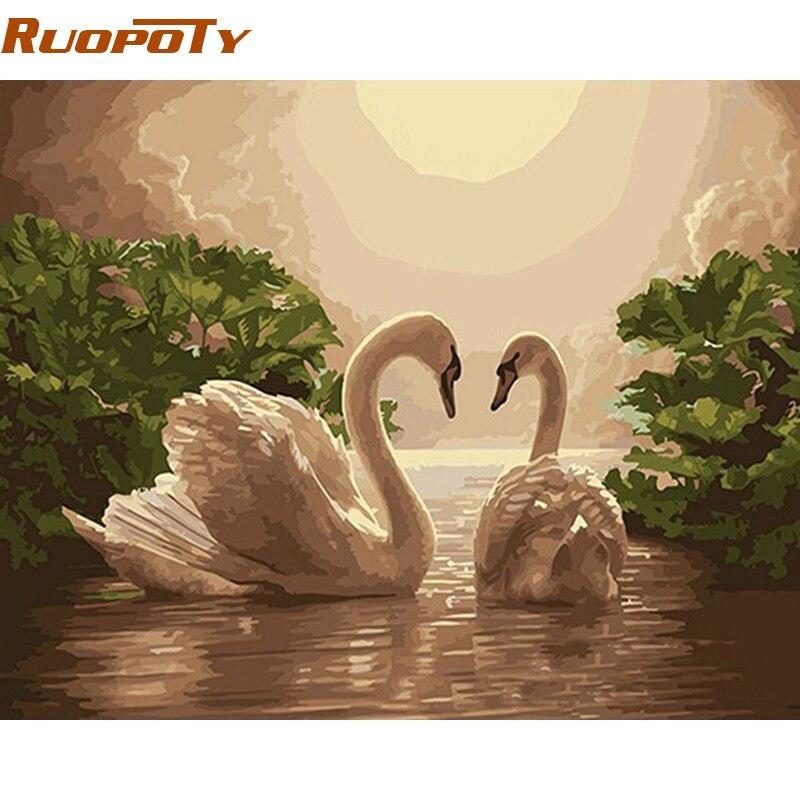 Amoy Art 3 Panels Beautiful Romantic Swans Art Print on