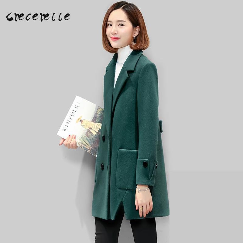 2018 Large Size Women Korean Winter Wool Long Coat Loose Coat Extra Plus Size Vestidos Mujer Charming Lovely Big Size D453