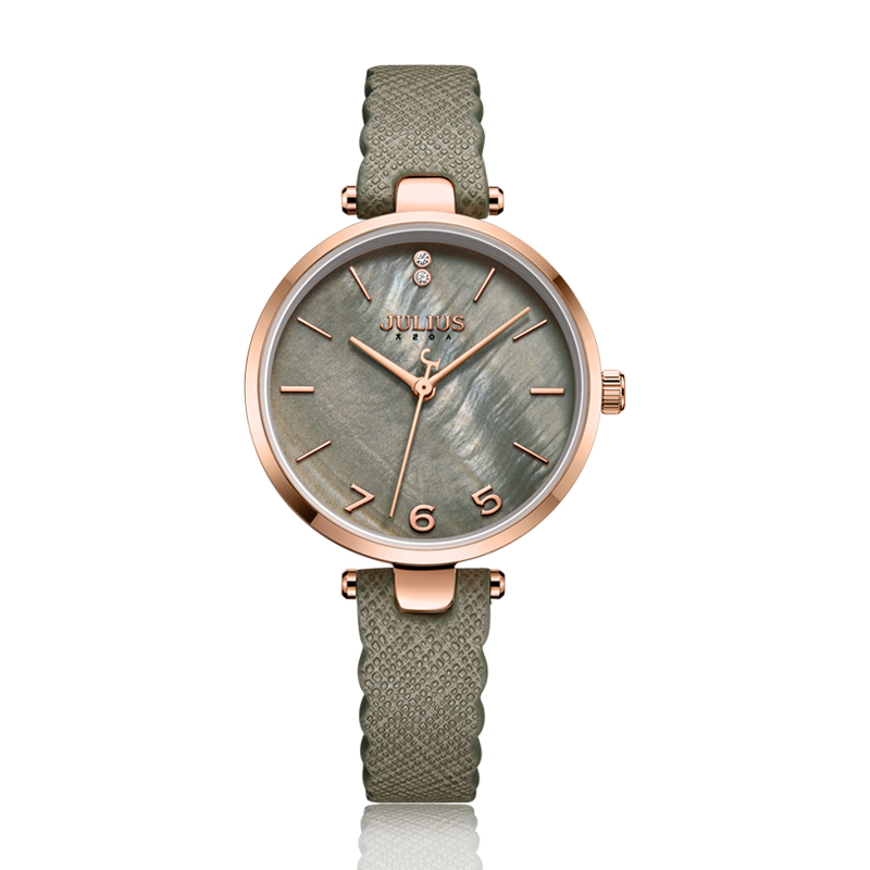Julius Watch Korean New Designer Watch Simple Casual Quartz Leather Band Gray Pink Clock High-End Pearl Dial Montre JA-1096