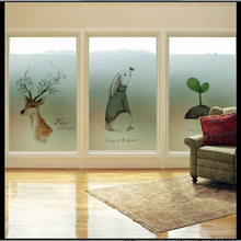 Window Glass stickers Elk window frosted glass paste balcony bathroom sliding door wardrobe sticker film opaque