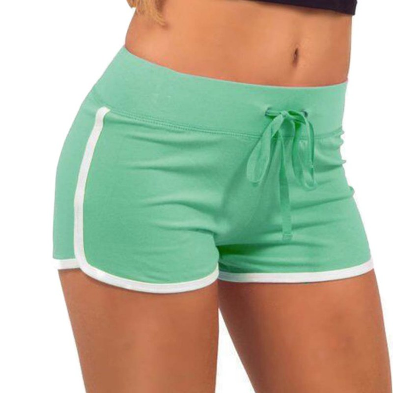 Hot Sale Shorts For Women Drawstring Elastic Waist Contrast Binding Side Split Shorts Cotton Work Waistband Fit New Shorts 2018 in Shorts from Women 39 s Clothing
