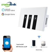 Ewelink US Type 3 Gang Wall Light App Switch Touch Control Panel Wifi Remote Control Via