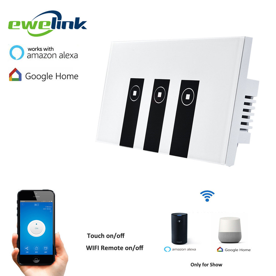 Ewelink US Type 3 gang wall light app switch, touch control panel, wifi remote control via smart phone,work with Alexa/Ewelink 2017 free shipping smart wall switch crystal glass panel switch us 2 gang remote control touch switch wall light switch for led