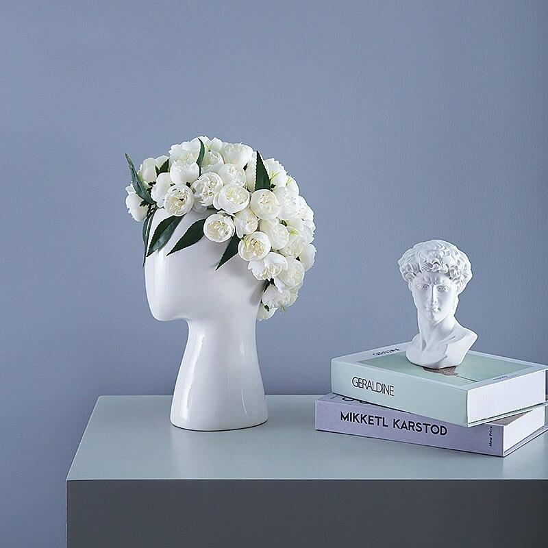 Nordic style Creative Human head model Ceramic vase Round hole Flower arrangement Home living room Decoration