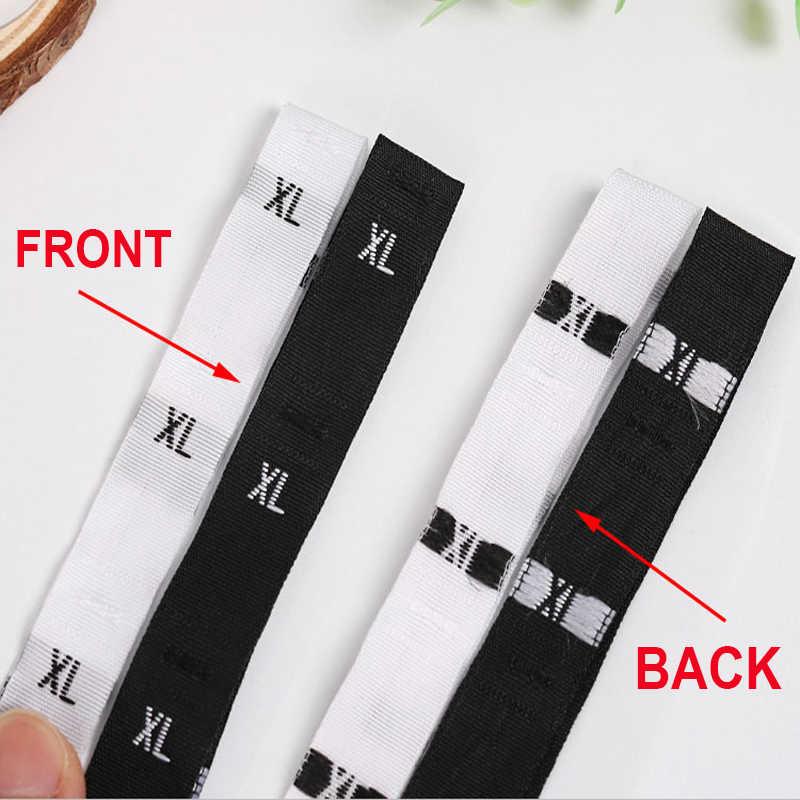 1.1X3 cm 500 pièces/rouleau noir sur blanc tissé/soin/taille de tissu étiquettes XS/S/M/L/XL/XXL/XXXL/4XL/5XL/6XL/7XL/ 8XL/9XL pour vêtements de vêtement