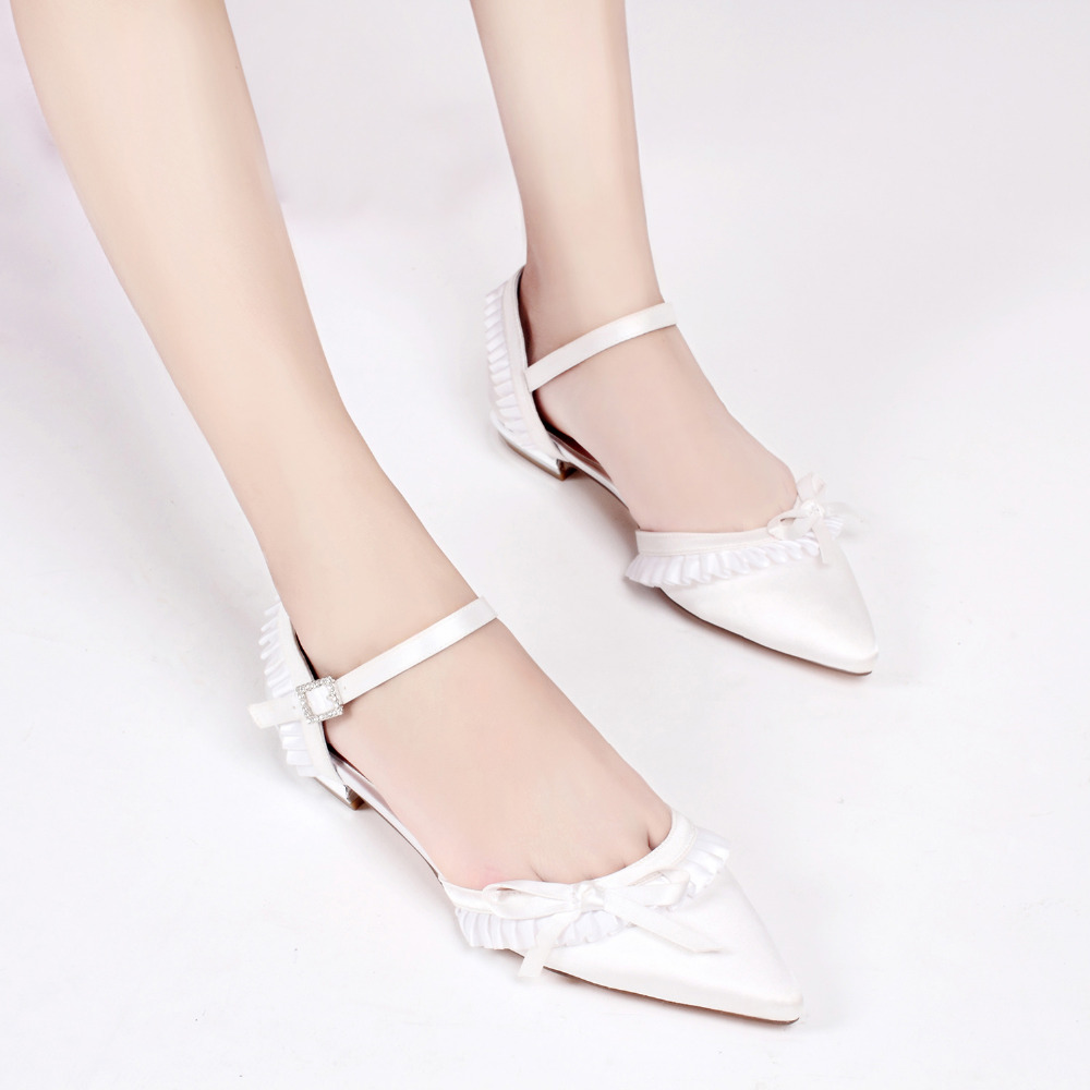 Creativesugar lady satin evening dress shoes bridal wedding prom flats  shoes sweet ruffles bowtie ankle strap white ivory blue-in Women s Flats  from Shoes ... 757c3cede1e8