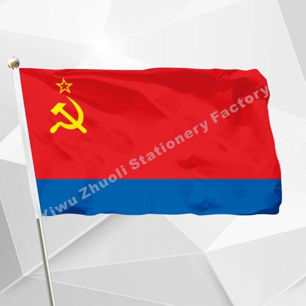 Aserbajdsjan SSR Flag 150X90cm (3x5FT) 120g 100D Polyester dobbelt syet Banner i høj kvalitet Gratis levering