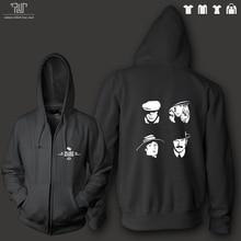 Peaky blinders元のトークデザイン男性ユニセックスジップアップパーカーフード重いフード付きsweatershirt 100%綿外側フリース内部送料無料