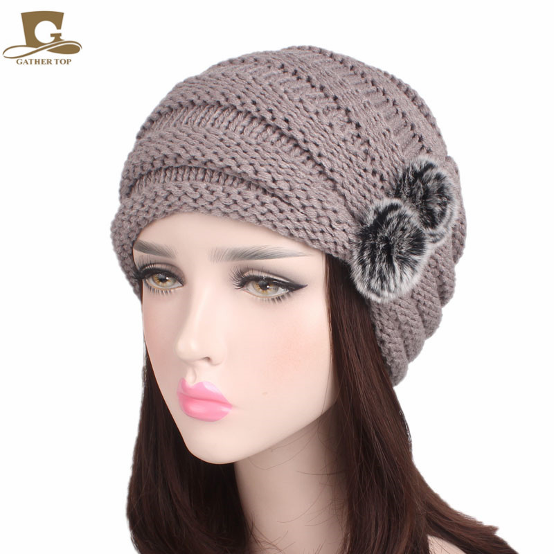 NEW Winter Warm Women Slouchy Beanie Ski Baggy Hat Knitted Skull Cap With Double Rabbit Fur Bulb Knitting Hats hot winter beanie knit crochet ski hat plicate baggy oversized slouch unisex cap