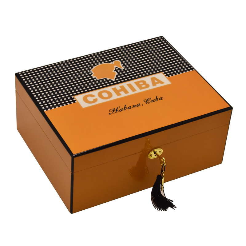 Cohiba Humidor  Box High Glossy 50~75 CT Cigar Humidor Cigar Box With Hygrometer Puros Habanos