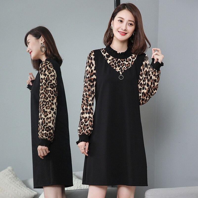 New2018Plus taille femmes automne robe léopard Patchwork faux deux a-ligne robe femme élégant décontracté Vestidos Femininas roupas L-5XL
