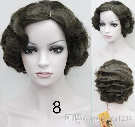 Flapper Hairstyles for Women Finger Wave Wig Retro Style Short Synthetic Wig fashion side bang white highlight charming short curly synthetic capless wig for women