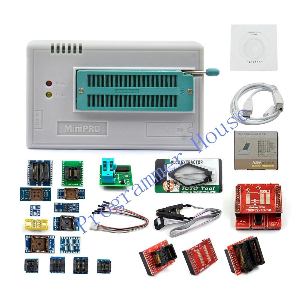 XGecu V9.16 TL866II Plus Universal Minipro USB Programmer+24 Adapters+SOIC8 Clip TL866 PIC Bios High Speed Programmer
