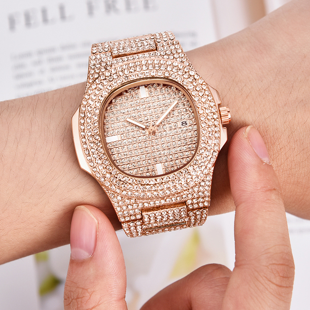 Hip Hop Iced Out Gold Color Watch Quartz Luxury Full Diamond Round Watches Mens Stainless Steel Wristwatch Gift