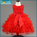 Luxury Rose Petals Bowknot Summer Girls Dresses Kids Girls Clothes Crew Neck Sleeveless Floral Baby Girl Dress