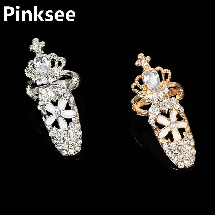 Women Fashion Cross Nail Ring Charm Crown Flower Crystal Finger Nail Decoration Rings 2018 Gothic Punk Exquisite Jewelry