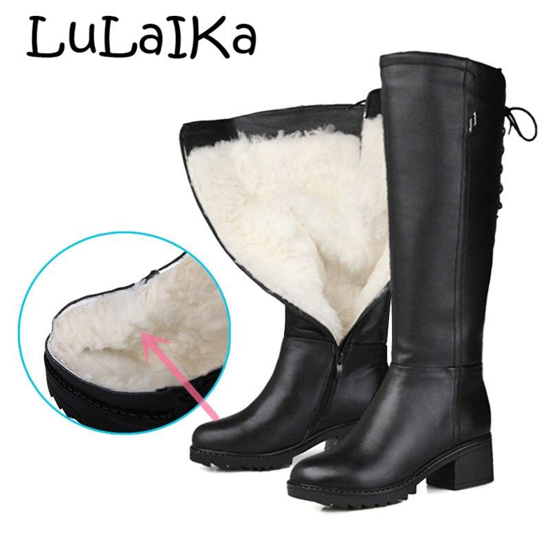 Genuino Calidad Tacón Las Cm Alta Lana De Marca 5 Zapatos La Cuero 2018 Mujeres Natural Alto Black Rodilla Invierno 5 pxwB7wSq8